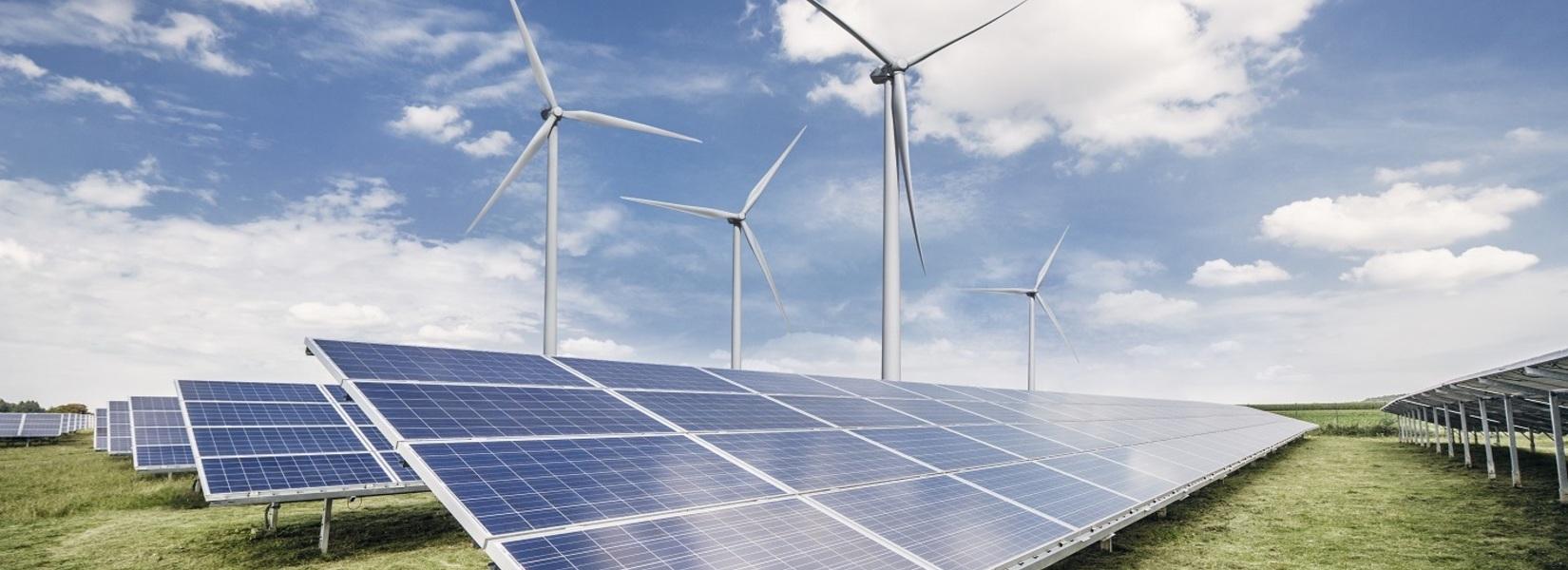 Illustration parc hybride eolien solaire